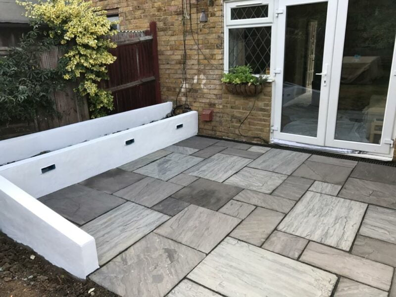 New Patio With Kindle Grey Indian Sandstone Basildon, Essex