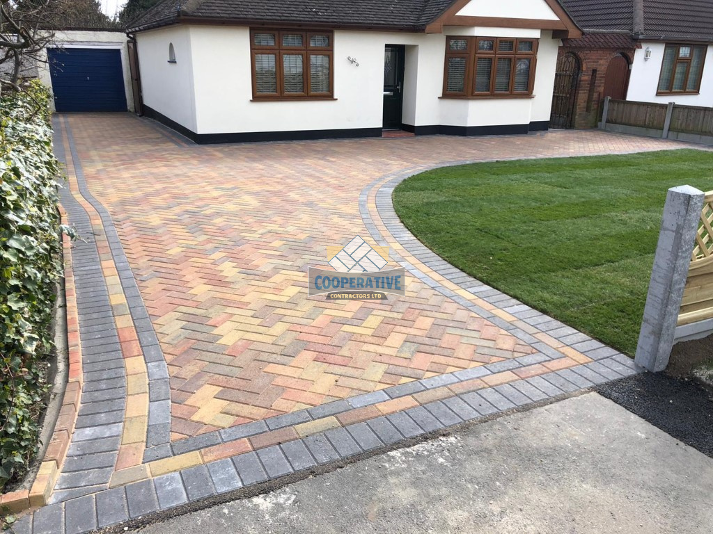 Autumn Gold Block Paved Driveway in Rayleigh, Essex