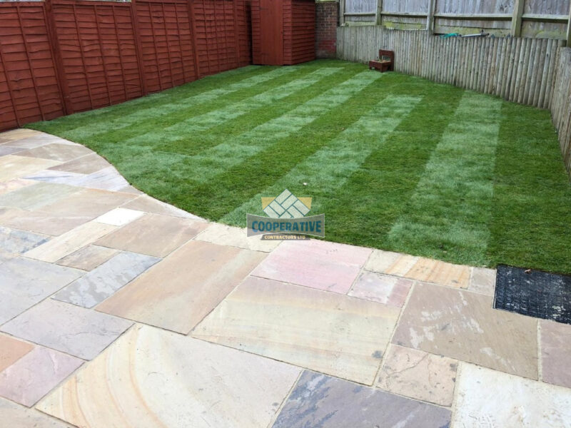 Indian Sandstone Patio with New Lawn in Romford, Essex